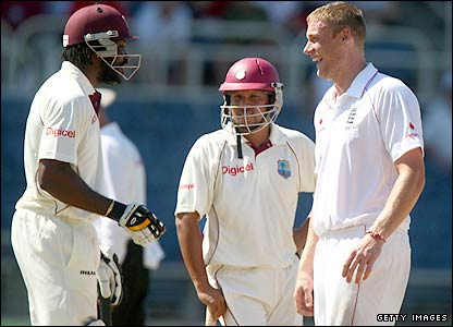 Chris Gayle and Freddie Flintoff