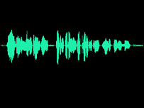 A waveform recording of a voice