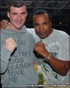 Joe Calzaghe and Sugar Ray Leonard