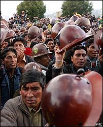 Sindicalistas bolivianos.