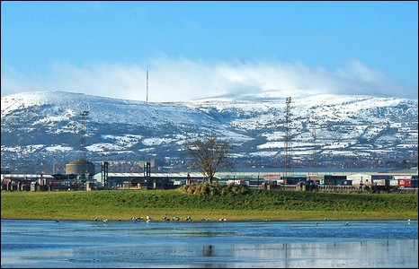 Charles Thompson sent in this image of Black Mountain showing the frozen pond at the RSPB sanctuary on Airport Road.