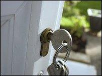 Keys in a frot door lock