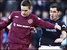 Hearts striker Gary Glen tussles for the ball with Jackie McNamara