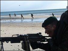 Royal marine with machine gun