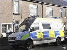 Gwent Police officers in Commercial Street, Ystrad Mynach