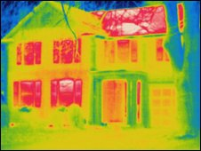 House with red areas showing where heat is lost