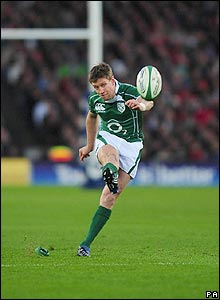 Ireland's Ronan O'Gara slots over a penalty