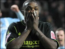 Wolves striker Sylvan Ebanks-Blake looks on in horror after his penalty is saved