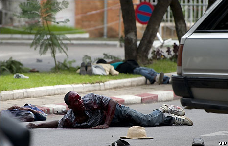 A man lies wounded near the presidential compound in Antananarivo