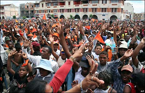 Demonstrators in central Antananarivo