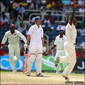 Andrew Strauss is caught behind off Jerome Taylor