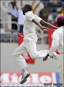 Sulieman Benn jumps for joy after dismissing Stuart Broad