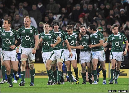 Gordon D'Arcy is congratulated by his Ireland team-mates