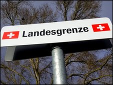 Swiss border sign