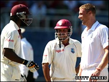 Chris Gayle and Andrew Flintoff at Sabina Park