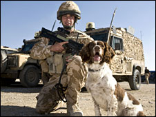 L/Cpl Jim Wilkinson and dog Jamie