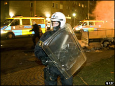 A Swedish riot policeman in Malmo in December 2008