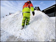 A salt delivery at the Stroudwater council gritting depot