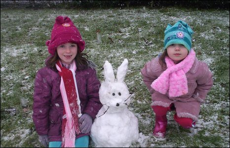 This snow bunny was brought to you by Rachel and Ellen who had to travel from Arglass to Downpatrick to find enough snow. Pic by Bronagh McIlhone.