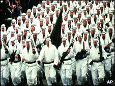 Members of the Seventh Muslim Brigade on parade in Zenica in 1996