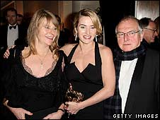 Kate Winslet with her parents Sally and Roger