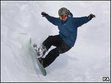 snowboarder at Glenshee