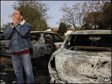 Israeli man reacts after rocket fire from Gaza