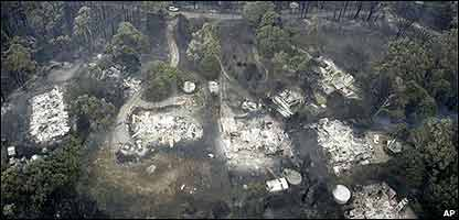 Casas calcinadas despu�s de los incendios en Australia