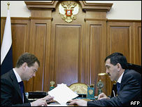 Юнус-Бек Евкуров в кабинете президента России Дмитрия Медведева 28 января