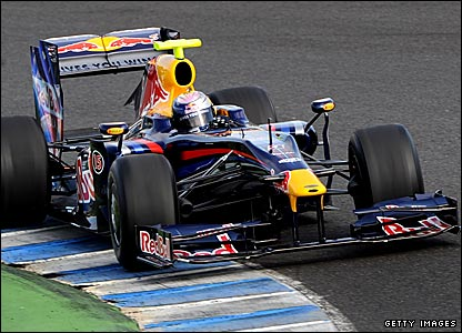 Sebastian Vettel drives the new Red Bull