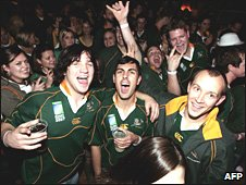 South African rugby fans in London