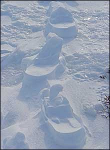 The frozen footprints of previous walkers near Loch Brandy at Glen Clova. Taken by Sandy Edwards of St Andrews.