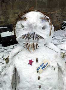 Comrade Frosty, the Lenin lookalike snowman! Taken in the Stockbridge Colonies in Edinburgh by Elaine Dick.