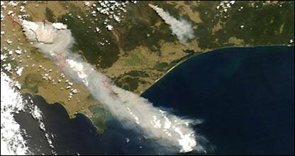 Los incendios, captados por satélite.