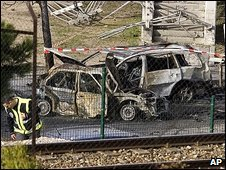Car destroyed in bombing near Madrid, 9/02/09