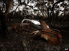 A burned out car