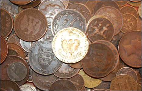 Selection of coins at the Midland Coin Fair