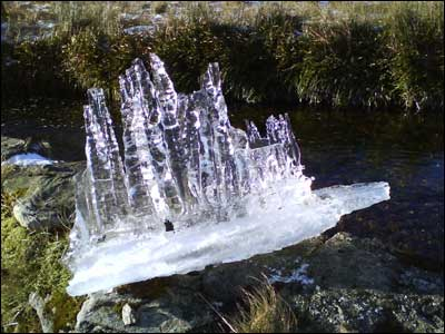 An ice block on a waterfall near Rest & Be Thankful in Argyll. Taken by Alistair McNeill.