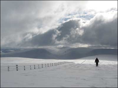 "Derek Grieve's friend ""Frank"" descending from the summit of Broadlaw in the Borders near Moffat."