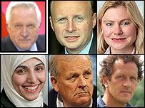 David Dimbleby, Liam Byrne, Justine Greening, Salma Yaqoob, Kelvin MacKenzie and Monty Don