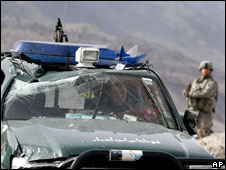 US soldier in vehicle after Taleban attack