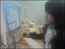Student looking at monitor
