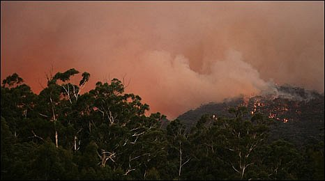 A wildfire rages in Healesville in Australia