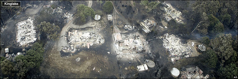 Aerial view of fire destruction in Kinglake Australia, 8 February