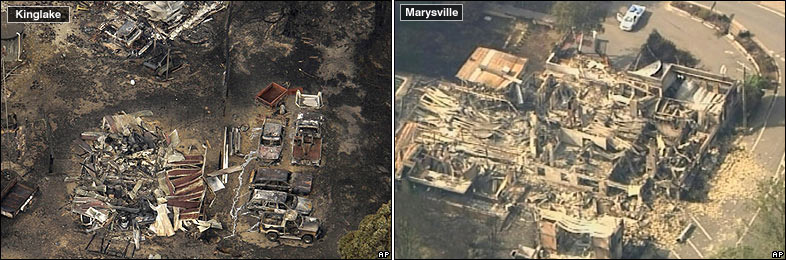 Aerial view of fire destruction in Kinglake (left) and Marysville (right) Australia, 8 February