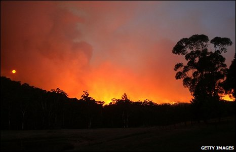 A bush fire burns in Victoria, Australia.