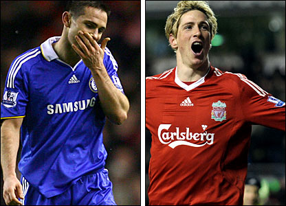 Frank Lampard (left) was sent-off in the 2-0 loss against Liverpool