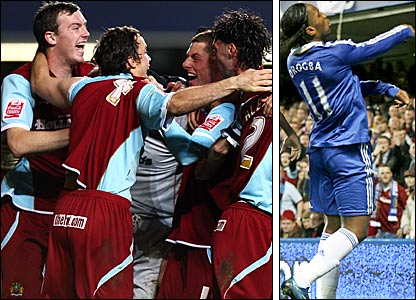 Chelsea go out the Carling Cup on penalties to Burnley, with Didier Drogba banned for throwing a coin into the crowd