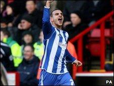 Marcus Tudgay celebrates his goal on Saturday