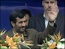 Video grab of Iranian President Mahmoud Ahmadinejad - 10/2/2009